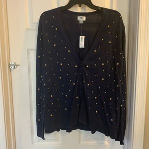 Old Navy Navy Cardigan with Gold Stars